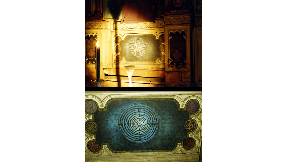 Synagoga 1994, broušený čedič a sklo, malba